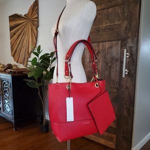 Calvin Klein Large Red Crossbody Shoulder Bag